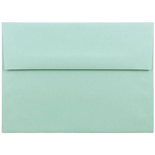 JAM PAPER Sobres de Invitación - 133,3 x 184,1 mm - Azul Aqua - Paquete de 50