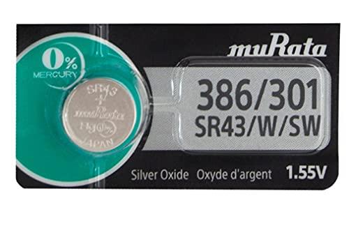 Sony-One (1) X Sony 386 SR43W-Batteria per orologio in ossido d'argento, 1,55 V, confezione Blister