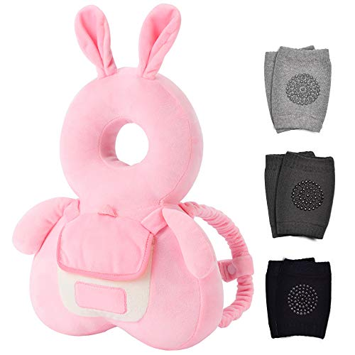 Baby Head Protector & Baby Knee Pads for Crawling, Toddlers Head Safety Pad Cushion Adjustable Backpack, Baby Back Protection for Walking & Crawling, for Age 5-24months, Cute Bunny