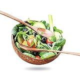 JWDS Juego de 4 cuencos de coco natural pulido con cuchara de madera y tenedor para almacenamiento de ensalada de verduras orgánicas/batidos reciclables