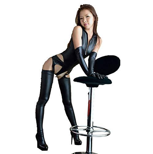 Damen Wetlook Kleid Wet Look Sexy Minikleid Kunstleder Neckholder Bänder Lackkleid Dreiteilige Sexy Dessous aus Leder Verspiegelt Einteilig,001,4XL
