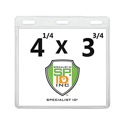 2 Pack - Premium Vaccination Card Protector 3 X 4 In for CDC Immunization Record or 4x3 Horizontal Badge I'D Name Tag - Clear Vinyl Plastic Sleeve w 3 Lanyard Slots for Events & Travel - Specialist ID