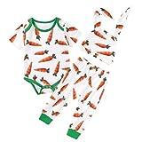 ISHOWTIENDA Baby Boy Easter Carrot Bodysuit 3pcs White