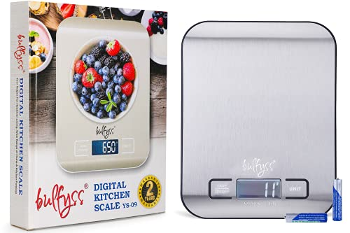 Bulfyss Stainless Steel Digital Kitchen Weighing Scale & Food Weight Machine for Diet, Nutrition, Health, Fitness, Baking & Cooking (5Kgs, Stainless Steel, 2 Years Warranty)