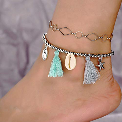 Arimy Boho Layered Tassle Anklets Silver Shell Ankle Bracelets Star Foot Chain Jewelry Barefoot Sandals for Women and Girls
