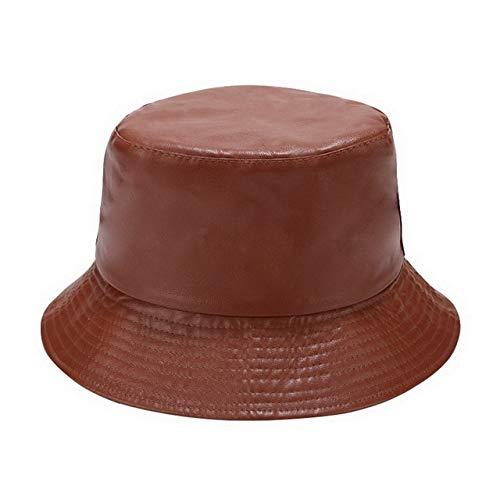 Sombrero de Mujer Sólido y cálido Gorra de Invierno Sombrero de Cubo para Mujer Protección Solar al Aire Libre Sombrero de señora Gorra-PU Brown