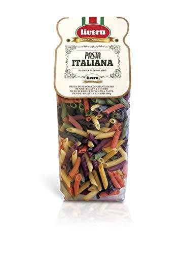 Livera Penne 6 Colores 4 X 500 Gr, Pasta Cortas de Sémola de Trigo Duro 100% Made in Italy, Pasta con Sabor y Color…