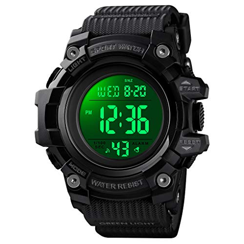 Mens Digital Sports Watches Military Waterproof Stopwatch Outdoor Army Watches for Men, with LED BackLigh/Alarm/Date/Shockproof Wristwatch