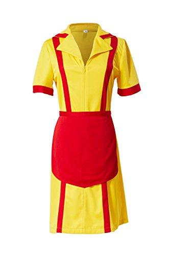 Manfis 2 Broke Girls Kostüm Kellnerin Kleid Midi Gelb M