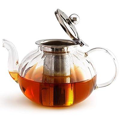 IwaiLoft Glass Teapot with Infuser, Stovetop Safe Tea Kettle, Blooming and Loose Leaf Tea Maker Iwi-Gt408 (40OZ, Stovetop Safe Teapot with Removable Infuser)
