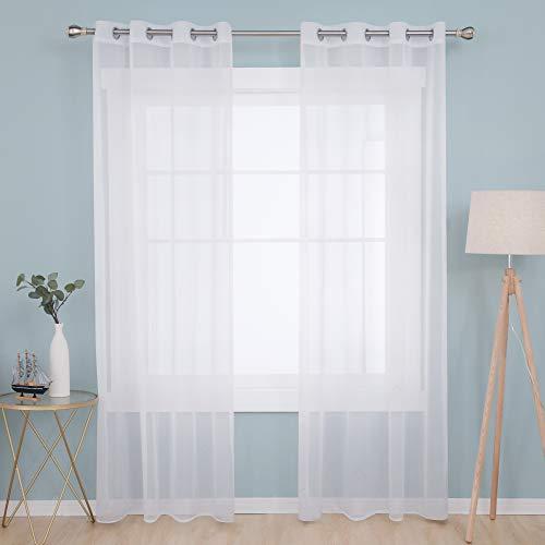 Deconovo Tende Trasparenti Camera da Letto Moderne in Voile con Occhielli per Porta Finestre 140x290 CM Due Pannelli Bianco