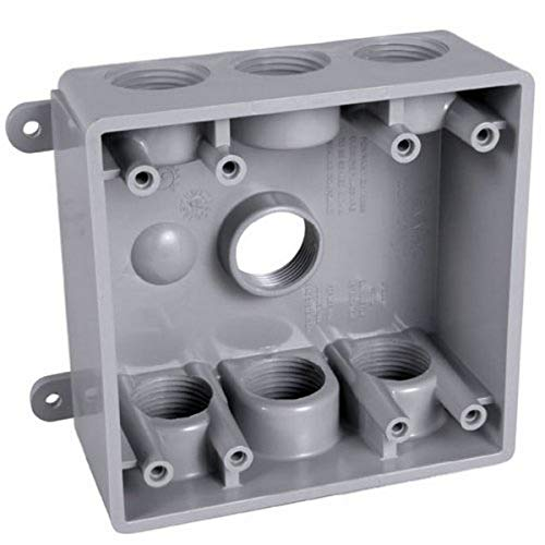 Hubbell-Bell PDB77550GY Two-Gang Weatherproof Box Seven 1/2 or 3/4-Inch. Threaded Outlets, Gray Finish