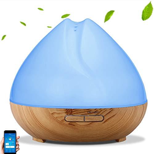 Difusor de Aroma, WiFi Profesional Difusor de Aroma Inteligente Humidificador ultrasónico Temporizador LED de aplicación Funciona con Alexa Google Home, Difusor(Enchufe de la UE)