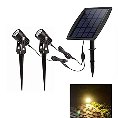 Lapeort LED Solar Landscape Spotlights, IP65 Waterproof Solar Powered Spot Lights Low Voltage 2-in-1 Outdoor Solar Landscaping Security Lights Auto On/Off for Trees Yard Garden Patio (Warm White)