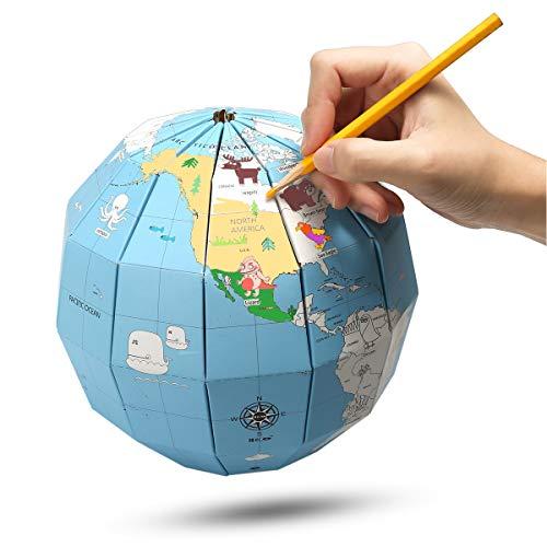 MECO ELEVERDE DIY Globo de Papel Manual Mapa del Mundo Educativo Color Rellenable Regalo / Juguete Creativo para Niños y Estudiantes Pequeños Adornos de Oficina / Casa