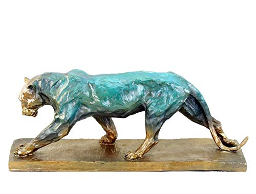 Limitierte Tierskulptur aus Bronze - Panther im Laufen (1904) - Panthère Marchant- signiert Rembrandt Bugatti - modern kolorierte Statue - Höhe 19 cm - Breite 48 cm Designskulptur - Kunst