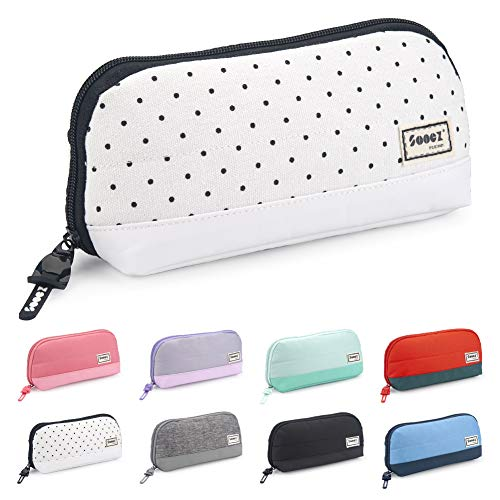 Sooez Wide-Opening Pencil Pen Case, Lightweight & Spacious Pencil Pouch Zipper Stationery Bag, Aesthetic Supply with Triangular Design for Adults, Black Dots