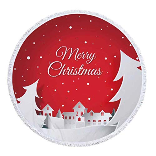 GermYan Navidad Verano Toalla Redonda Toallas de Ducha de Microfibra Manta de Estera de Yoga con borlas