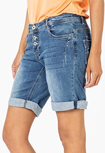 Sublevel Damen Jeans Bermuda-Shorts mit Denim Aufschlag Middle-Blue M