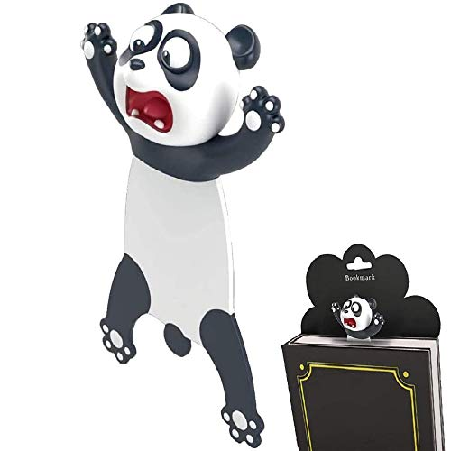 Ouch Animal Bookmarks, Gayrrnel 3D Christmas Bookmarks for Kids and Students - Novelty Funny Stationery Birthday Party Favors for Kids Teens Boys Girls Help with Reading (Panda)
