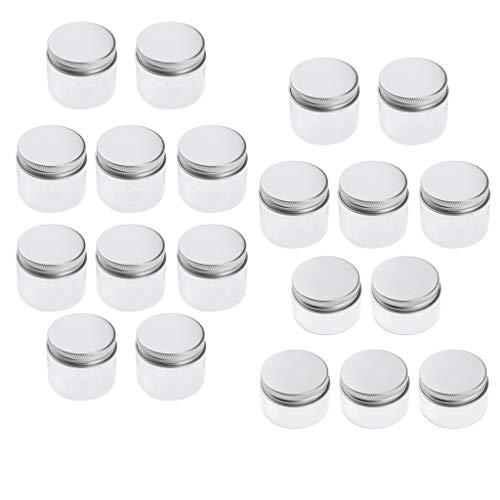 SM SunniMix 20pcs Bocaux en Plastique Pots Stockage Crème Baume à Lèvres Récipients avec Bouchon à Vis