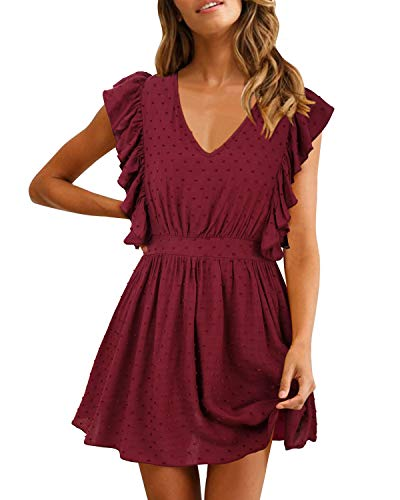 SOLERSUN Aline Cocktail Dresses for Women, Women's Casual Summer Elegant V Neck Ruffle Sleevesless Stretchy Swing Cocktail Party Mini Dress Jujube red XL