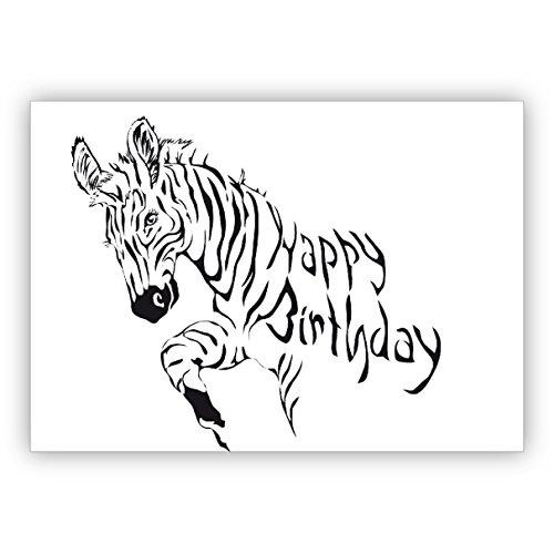 10 Grußkarten : Coole Zebra Geburtstagskarte: Happy Birthday • schöne Glückwunschkarten mit Umschlägen geschäftlich & privat