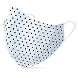 tanzmuster ® Behelfsmaske waschbar für Erwachsene - 100% Baumwolle OEKO-TEX 100 mit Nasenbügel und Filtertasche - Community Maske wiederverwendbar 2-lagig in Polka-Dots weiß Größe L Erwachsene