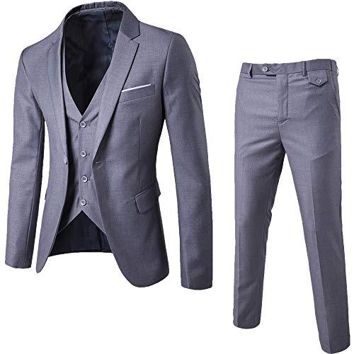 KPILP 3-teiliger Anzug, Sales Herren Elegant Slim Blazer Business Solid Sakkos Hochzeit Jacke Weste & Hosen Herbst Winter(Grau,EU-50/CN-M)