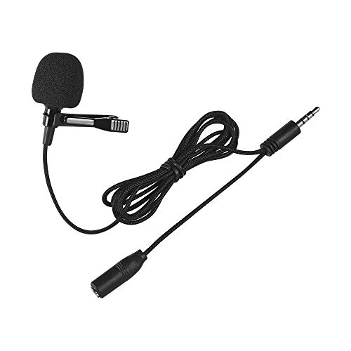 Andoer Mini Clip-on Lapel Lavalier Condenser Microphone Mic with 3.5mm Headphone Output Jack for iPhone iPad Android Smartphone DSLR Camera Computer PC Laptop