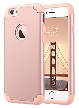 ULAK iPhone 6S Case iPhone 6 Case Slim Fit Dual Layer Soft Silicone & Hard Back Cover Bumper Protective Shock-Absorption & Anti-Scratch Case for Apple iPhone 6/6S 4.7inch- Rose Gold