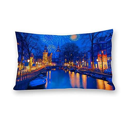 Amsterdam på natten kuddöverdrag kroppskuddöverdrag för bäddsoffa heminredning 50 cm x 76 cm