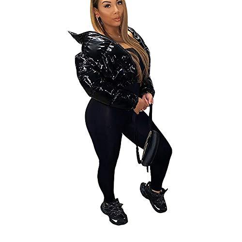 Women Bread Jacket PU Leather Shiny Short Puffer Jackets Zipper Bubble Coats Top