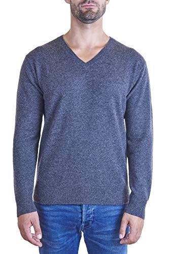 CASH-MERE.CH 100% Bio Kaschmir Herren Pullover | Sweater V-Ausschnitt 2-fädig (Grau/Dunkelgrau, XXL)