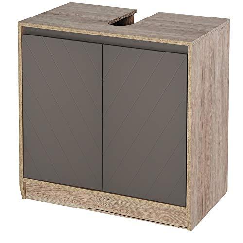 HOMCOM Waschbeckenunterschrank Badschrank Badmöbel mit 2 Türen Unterschrank MDF Grau+Eiche 60 x 30 x 59,8 cm