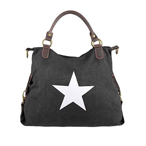 OBC ital-Design Stern Tasche Handtasche Ledertasche Damentasche Canvas Crossover Schultertasche Sportliche Tasche Umhängetasche Henkeltasche Shopper DIN-A4