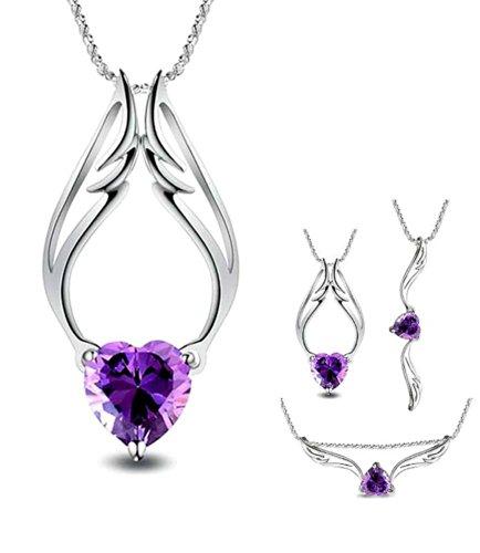 Celebrity Jewellery Plateado Plata púrpura del ángel del ala del corazón de Cristal Austriaco Collar Colgante Amethyst