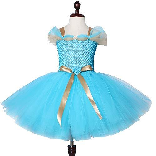 YHX Lmpara mgica de Aladdin Falda de tut de Princesa jazmn, Disfraces de Halloween y Navidad para nios, Falda de tut de Gasa de Red para nia