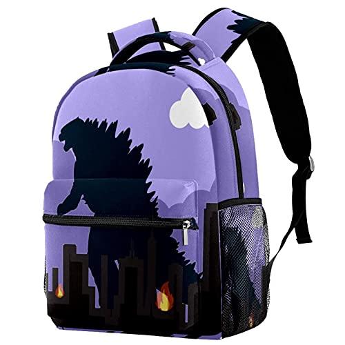 Backpack La città dei dinosauri Mochila niña Mochila de Viaje Mochila Escolar Gran Capacidad Mochila Casual Diaria para Mujeres 25.4x10x30 CM