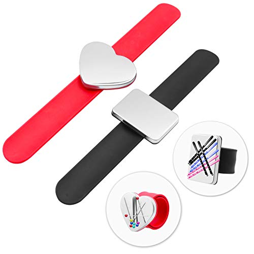 BEIJITA 2pcs Magnetic Pincushions, Square&Heart Shaped Sewing Pincushions, Pin Cushion Bracelet for Sewing, Silicone Wrist Strap Magnetic Pin Holder Bracelet,Magnetic Wristband, Magnet Needle Holder