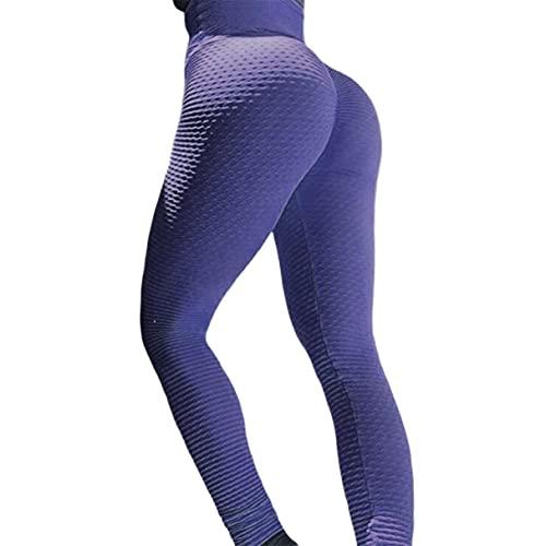 Sport Leggings Dames Gym Hoge Taille Push Up Yoga Broek Jacquard Fitness Legging Hardloopbroek Dames Strakke Sportbroek [Paars Xl] Paars