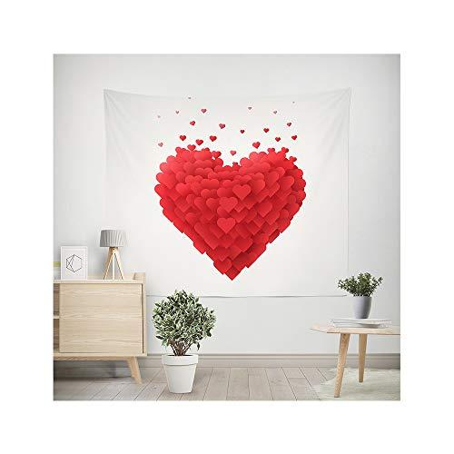 MIGUOR Tapiz para colgar en la pared del hogar, dormitorio, sala de estar, diseño de corazón, árbol de San Valentín, 150 x 200 cm
