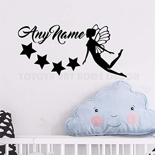 wandaufkleber schmetterling rosa wandaufkleber glitzer Personalisierte Name Fairy Stars Jeder Name Customade Mädchen Schlafzimmer Wand Dekor Abziehbilder für Kindergarten