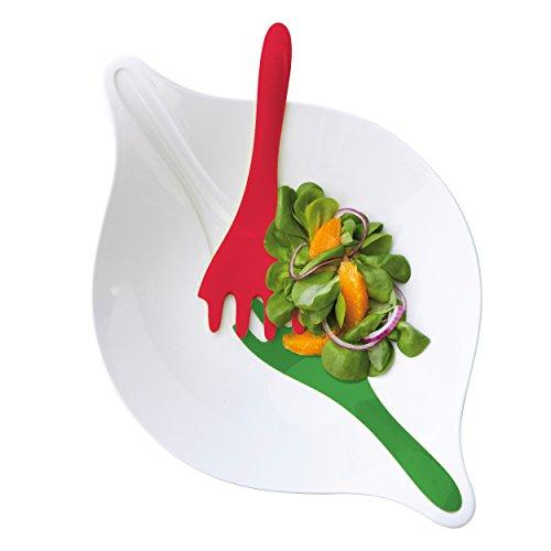 Koziol Leaf L+, Salatschale mit Besteck, Schüssel, Salatschüssel, Salat Schale, 3 L, Weiß mit Rot / Grün, 3692820