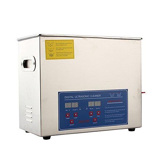 Zerone - Pulitore a ultrasuoni, in acciaio inox, con regolazione del contatore di tempo del riscaldatore 6L