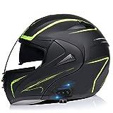 Cascos de Moto Bluetooth Modulares Con Doble Visera ECE Homologado Casco Integrado Motocross Racing Micrófono de Auricular Con Altavoz Incorporado Para Respuesta Automática B,S