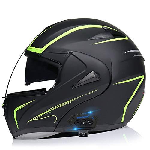 Cascos de Moto Bluetooth Modulares Con Doble Visera ECE Homologado Casco Integrado Motocross Racing Micrófono de Auricular Con Altavoz Incorporado Para Respuesta Automática B,L