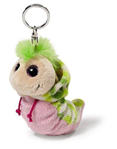 NICI 38484 - Flibbie Schlüsselanhänger mit Kapuze, 12 cm, rosa/grün Gemustert