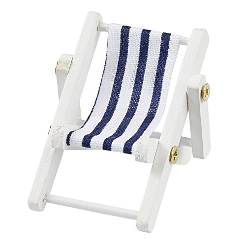 Mini-ligstoel 5 x 3,5 cm, blauw/wit, houten frame wit