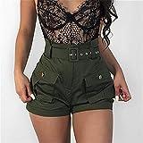 FENGLINZEKANG Hohe Taille Kurze Hose Damen einfarbig Casual Shorts mit elastischen -